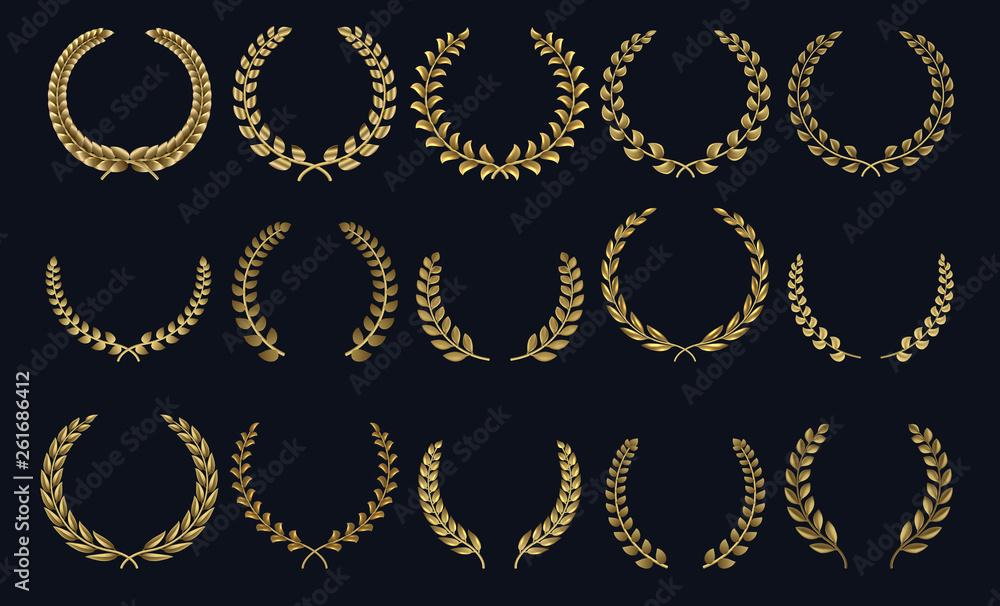 Fototapeta Golden laurel wreath. Realistic crown, leaf shapes winner prize, foliate crest 3D emblems. Vector greek roman laurel silhouettes and olive wreaths honor achievements