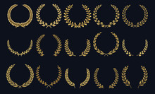 Golden Laurel Wreath. Realistic Crown, Leaf Shapes Winner Prize, Foliate Crest 3D Emblems. Vector Greek Roman Laurel Silhouettes And Olive Wreaths Honor Achievements