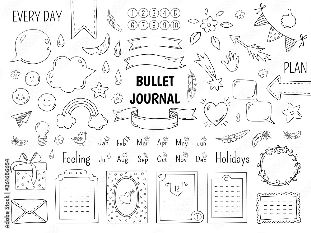 Fototapeta Notebook doodle bullet. Hand drawn diary frame, journal linear list borders and elements. Vector sketch doodle elements planner notes design scribbles