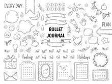 Notebook Doodle Bullet. Hand Drawn Diary Frame, Journal Linear List Borders And Elements. Vector Sketch Doodle Elements Planner Notes Design Scribbles
