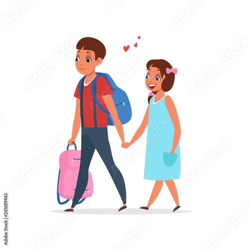 Romantic couple holding hands vector illustration