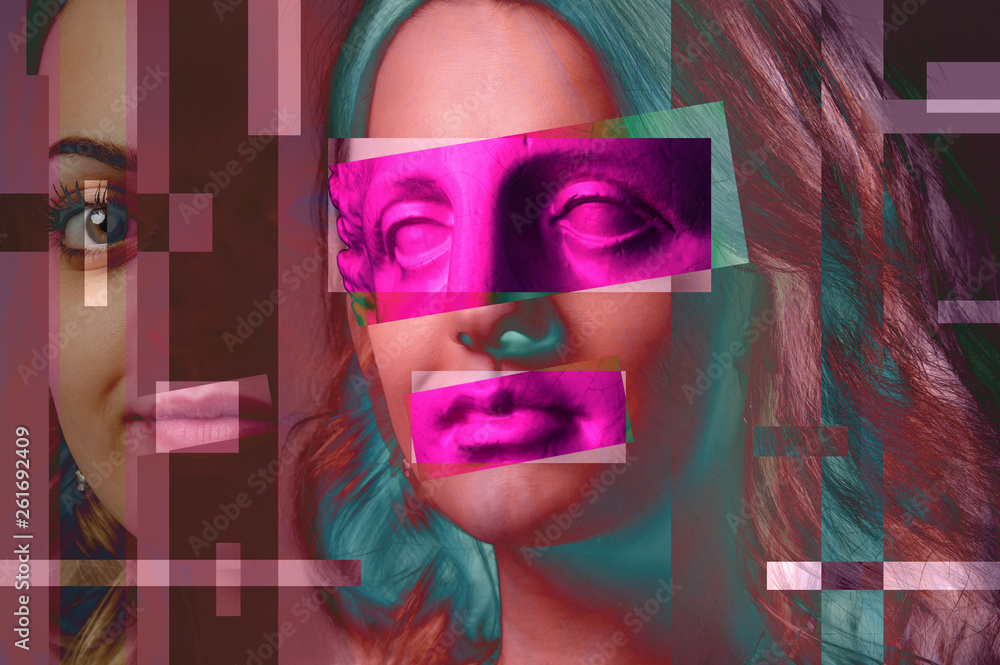 Contemporary art poster abstract collage with attractive woman. Minimal design concept. Modern art.