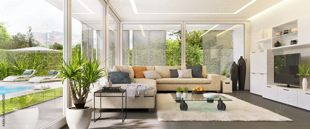 Fototapety, obrazy: Interior design of a living room in a modern house with an open terrace and swimming pool