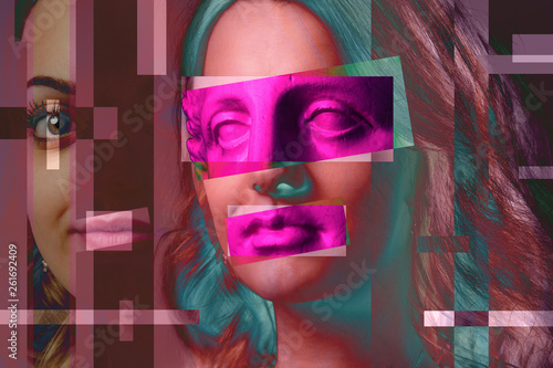 Leinwand Poster  Contemporary art poster abstract collage with attractive woman