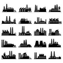Industry Business Buildings. Industrial Warehouse, Manufacturing Factory And Factories Exterior Silhouettes Vector Illustration Set