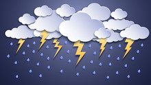 Summer Thunderstorms. Storm Clouds, Thunderstorm Lightning And Rainy Weather. Thunder And Lightnings Craft Paper Vector Illustration