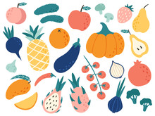 Hand Drawn Fruits And Vegetabl...