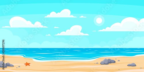 Cartoon summer beach. Paradise nature vacation, ocean or sea seashore. Seaside landscape vector background illustration