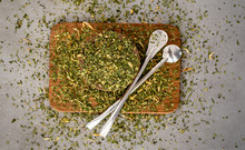 Yerba Mate Tea On Neutral Stone Gray Backgrund. Healthy, Energy Boosting Beverage Drink On Neutral Stone Gray Backgrund.