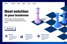 Website Providing The Service Of Best Solution In Your Business. Concept Of A Landing Page For Best Solution In Your Business. Vector Website Template With 3d Isometric Illustration Of A Chess