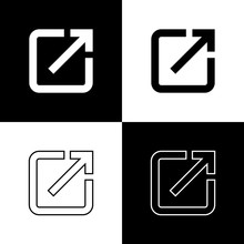 Set Open In New Window Icons Isolated On Black And White Background. Open Another Tab Button Sign. Browser Frame Symbol. External Link Sign. Line, Outline And Linear Icon. Vector Illustration