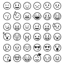 Emoticons Outline. Emoji Faces...