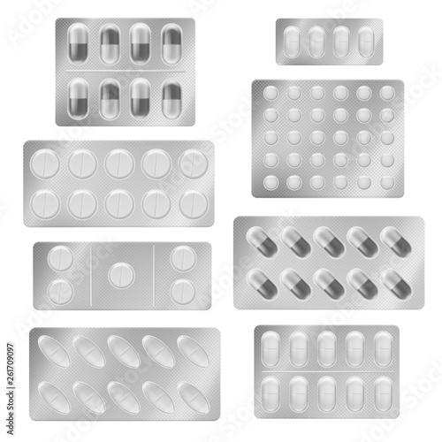 Realistic blister packs pills Fototapet