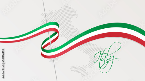 Fototapeta Wavy national flag and radial dotted halftone map of Italy obraz