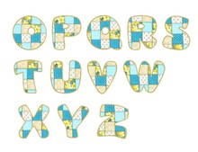 Roundish Font From Quilted From Multi-colored A Blanket Rag - Letter O-Z Set 2