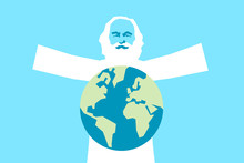 God As Old Bearded Man On The Sky - The Creator Is Creating Planet Earth. Creationism And Creationist Religious Act From Bible. Vector Illustration. Graphic Pop Art Style.