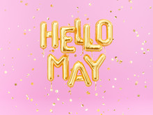 Hello May Text Banner, Foil Ba...