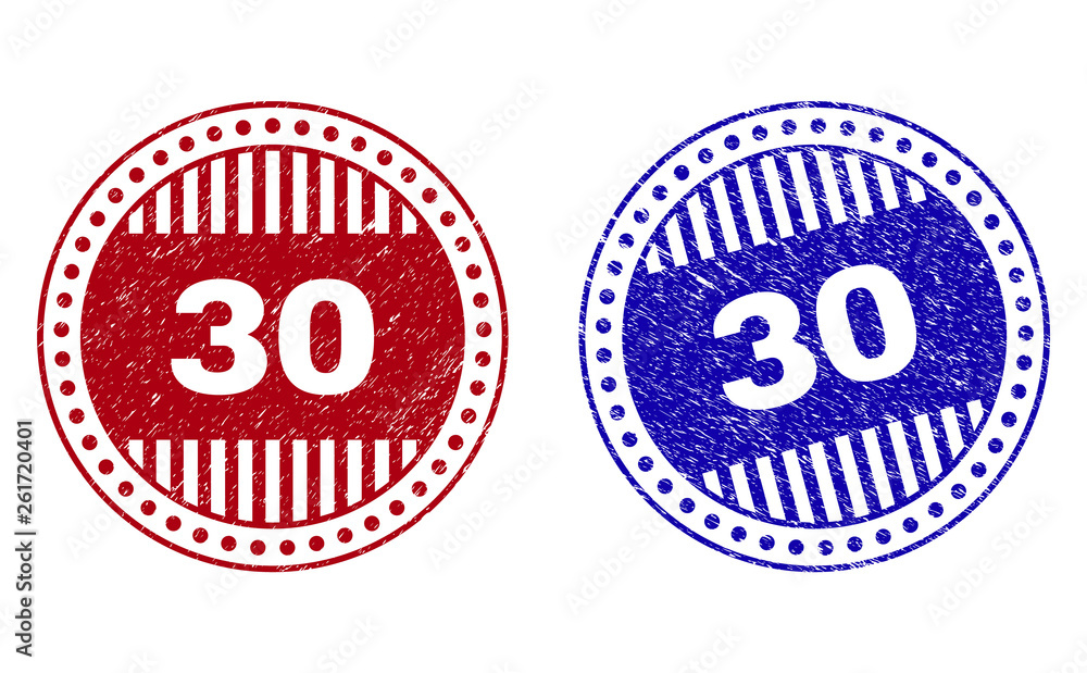 Fototapety, obrazy: Grunge 30 round stamp seals isolated on a white background. Round seals with grunge texture in red and blue colors. Vector rubber imprint of 30 label inside circle form with stripes.