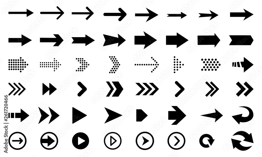 Fototapety, obrazy: Big vector set of black flat arrows and direction pointers, isolated on white background.