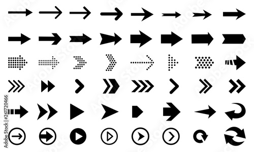 Obraz Big vector set of black flat arrows and direction pointers, isolated on white background.  - fototapety do salonu