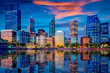 canvas print picture - Sunset in Perth city with building and river