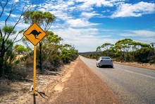 Country Outback With Yellow Kangaroo Road Sign