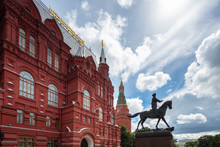 The Marshal Georgy Zhukov Monument Near National Historic Museum And Red Square In Moscow, Russia