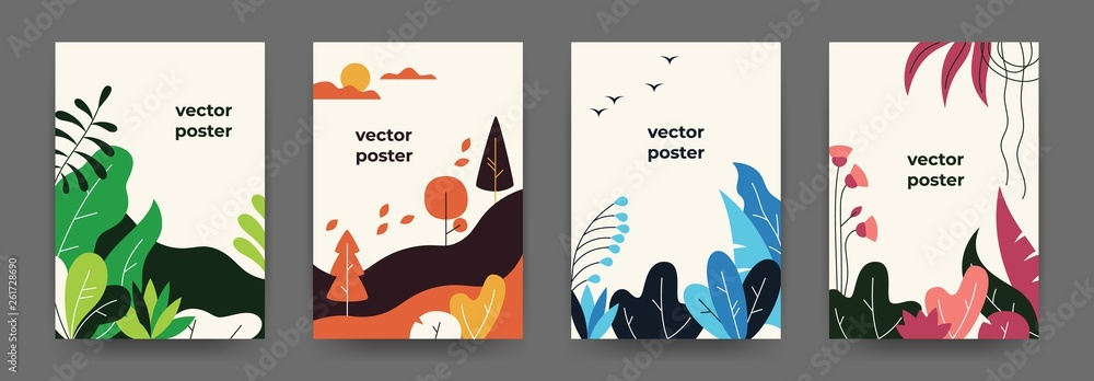 Fototapeta Flat plant posters. Gradient abstract geometric banners with copy space floral frames, jungle leaves and plants. Vector cover landscape design