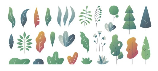 Flat minimal leaves. Fantasy colors gradation, leaves bushes and trees design templates, nature gradient plants. Vector cute autumn leaves
