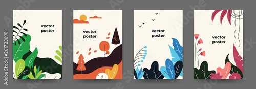 Obraz Flat plant posters. Gradient abstract geometric banners with copy space floral frames, jungle leaves and plants. Vector cover landscape design - fototapety do salonu