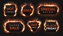 Realistic Fire Labels. Hot Deal And Sale Offer Text Banners With Shiny Flame Effect, Isolated Design Objects. Vector Burning Commercial Labels Set