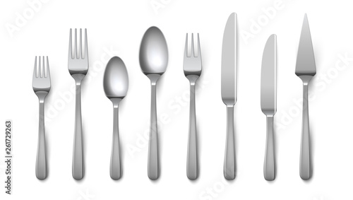 Fototapeta Realistic cutlery. Silverware fork knife spoon isolated on white background, stainless steel tableware flatware. Vector metal top view cutlery obraz