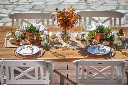 Fall Outdoor Dining Tablescapes. Autumn table Fototapet