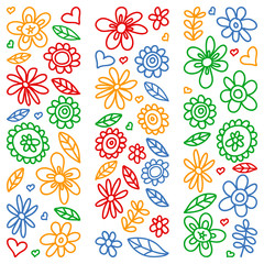 Vector set of child drawing flowers icons in doodle style. Painted, colorful, pictures on a piece of paper on white background.