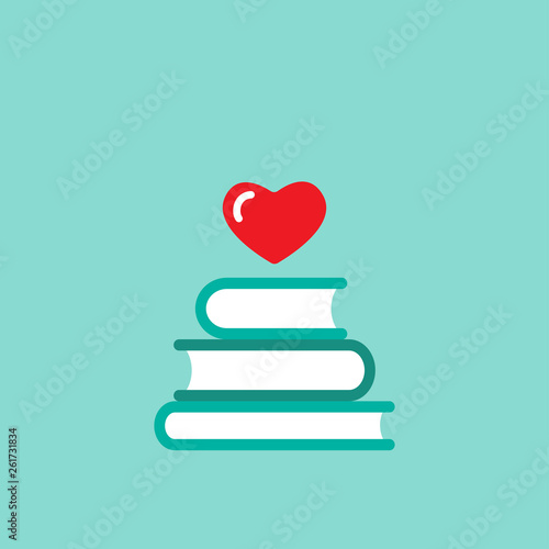 Stack of books with red heart flying out Canvas Print