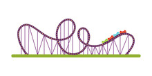 Roller Coaster Flat Vector Illustration
