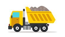 Dump Truck Flat Vector Illustr...
