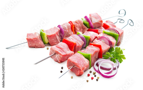 Poster de jardin Nature Kebabs - raw meat and vegetables on skewers, ready for grilling