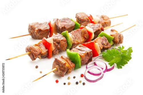 Fotografía Kebabs - grilled meat and vegetables on skewers