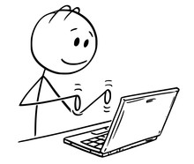 Cartoon Stick Figure Drawing Conceptual Illustration Of Smiling Man Working And Typing On Laptop Computer.