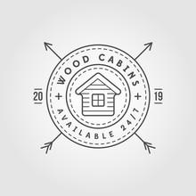Vector Illustration Vintage Logo With Wooden Cabin. Retro Print Design, Stamp. T-shirts, Poster Design.
