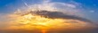 Panorama of nature golden hour morning sky and clouds background