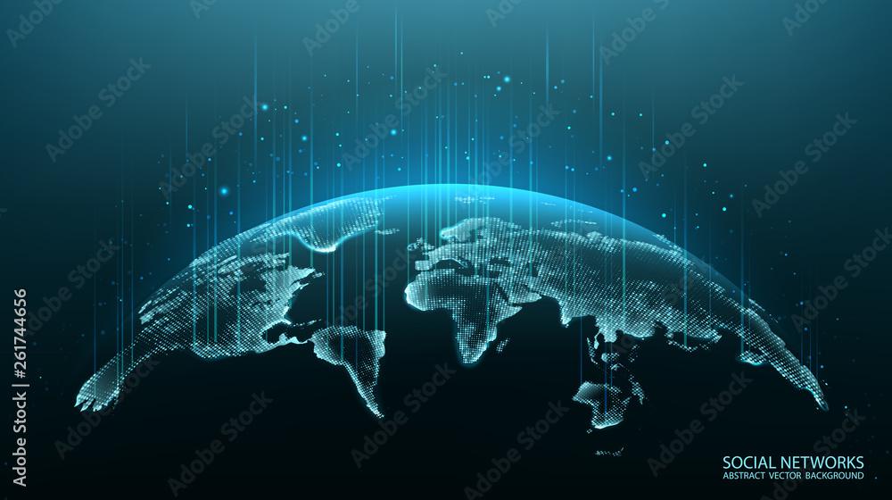 Mapa planety. Mapa świata. Globalna sieć społecznościowa. Przyszłość. Wektor. Niebieskie tło futurystyczne z planety Ziemia. Internet i technologia. Nowoczesna nauka. Streszczenie tło geometryczne.