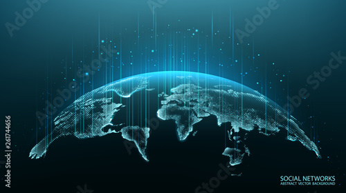 Map of the planet. World map. Global social network. Future. Vector. Blue futuristic background with planet Earth. Internet and technology. Modern science. Abstract geometric background.