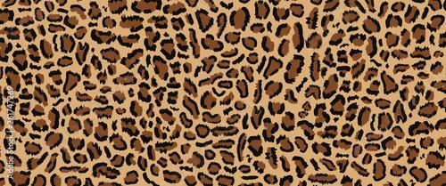 Photo Leopard pattern design, vector illustratin, trendy background, Leopard fur pattern seamless real hairy texture