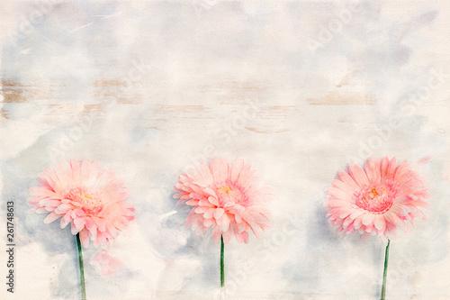 Slika na platnu pink gerbera on white rustic wooden background