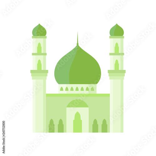 Fotografie, Tablou Mosque building light green color vector illustration.