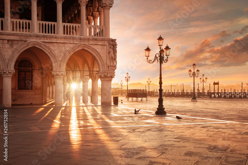 Fotografia  San Marco in Venice, Italy at a dramatic sunrise