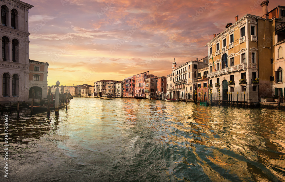 Fototapety, obrazy: Canale Grande at sunset in Venice Italy