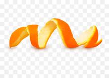 Close-up Spiral Peeled Fresh Orange Peels Isolated On Transparent Background